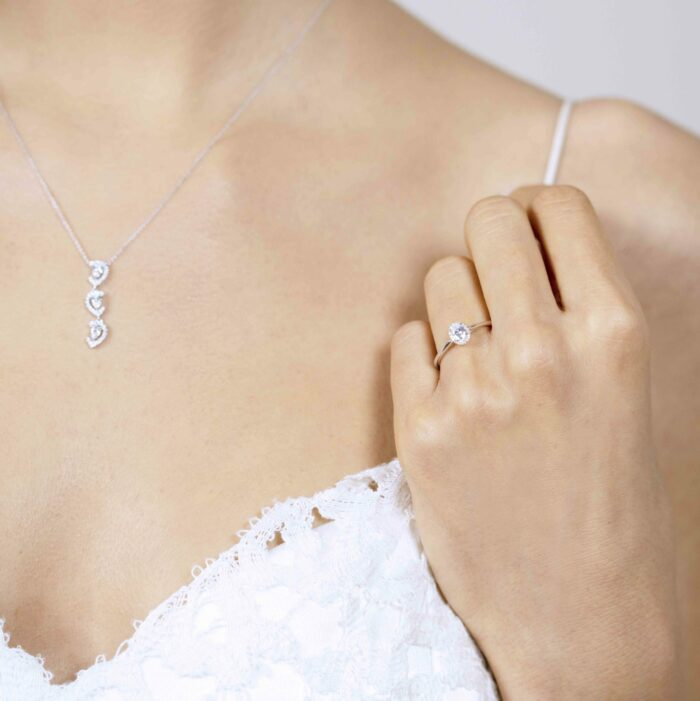 Tri Drop Pendant & Cathedral Halo Oval Ring White - Jewelry Set