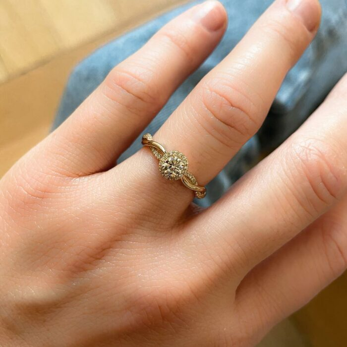 Micro Cathedral Halo Intertwined Round Ring