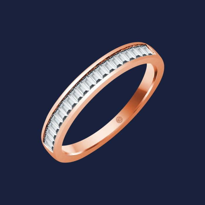 Baguette Channel Diamond Band Rose - Wedding Band