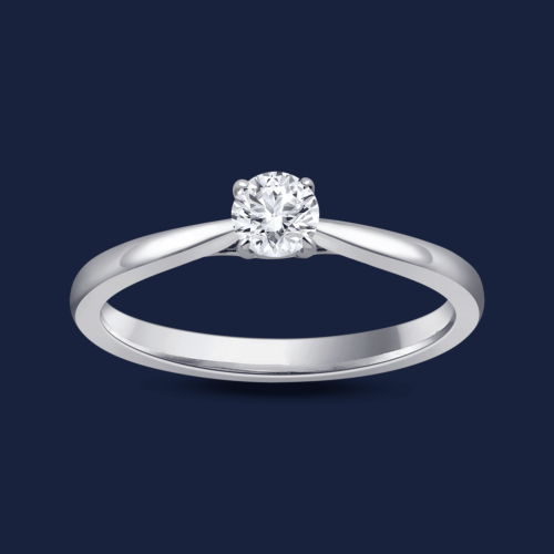 Cathedral Round Pinched Ring White
