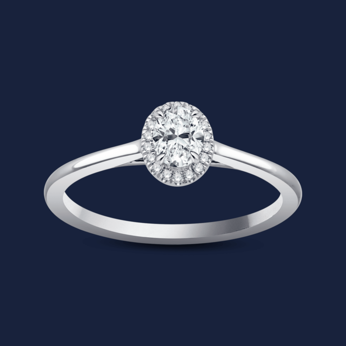 Cathedral Halo Oval Ring White
