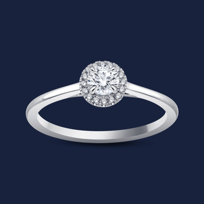 Cathedral Halo Round Ring White - Diamond Ring
