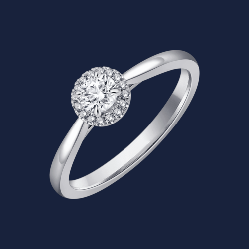 Cathedral Halo Pinched Round Ring White - Engagement Ring