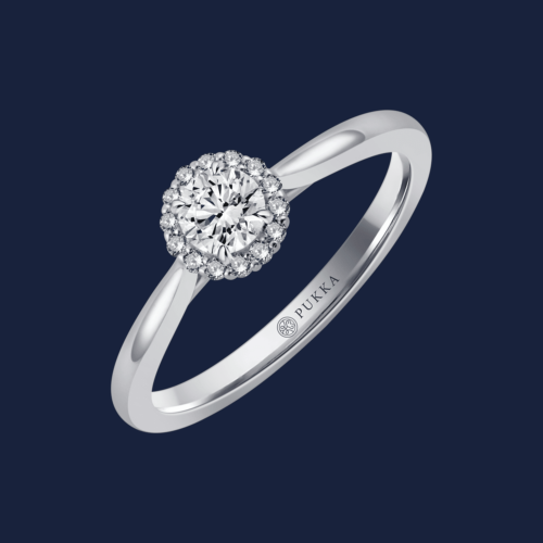 Bouquet Halo Round Pinched Cathedral Ring