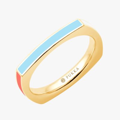 Bauhaus Square Ring - Riva Blue + Nordic White + Silk Coral