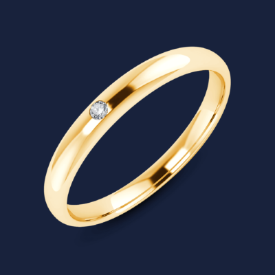 280 - Half Domed Mini Diamond Band - Yellow