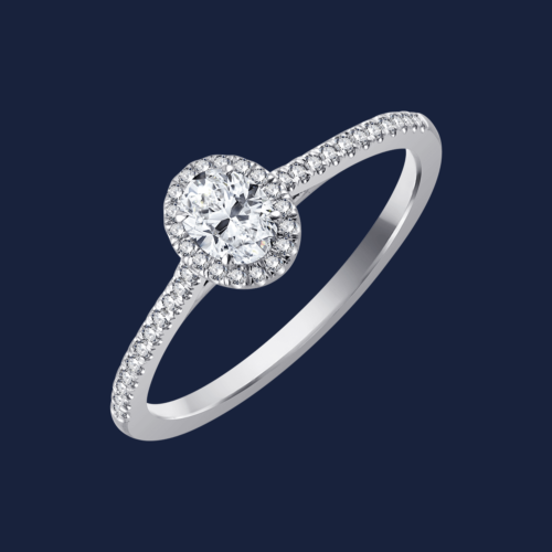 728 - Micro Cathedral Medium Oval Ring - White