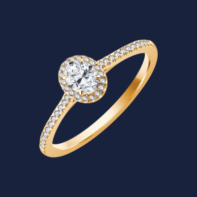 728 - Micro Cathedral Medium Oval Ring - Yellow