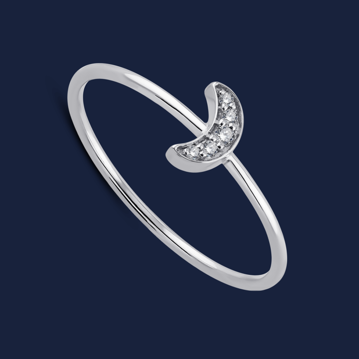 293 moon stack ring white