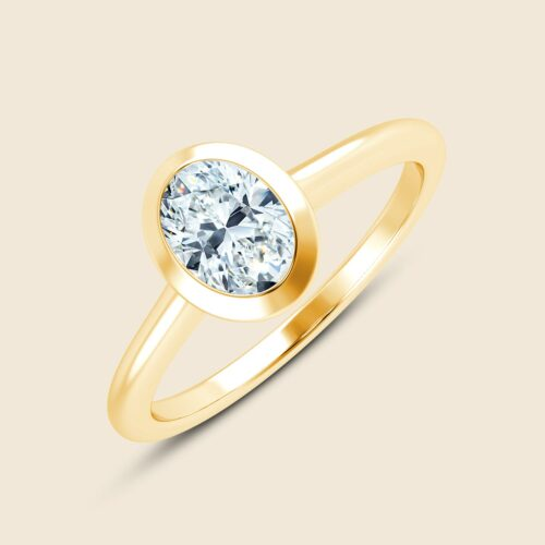 Oval Floating Iris Ring Yellow