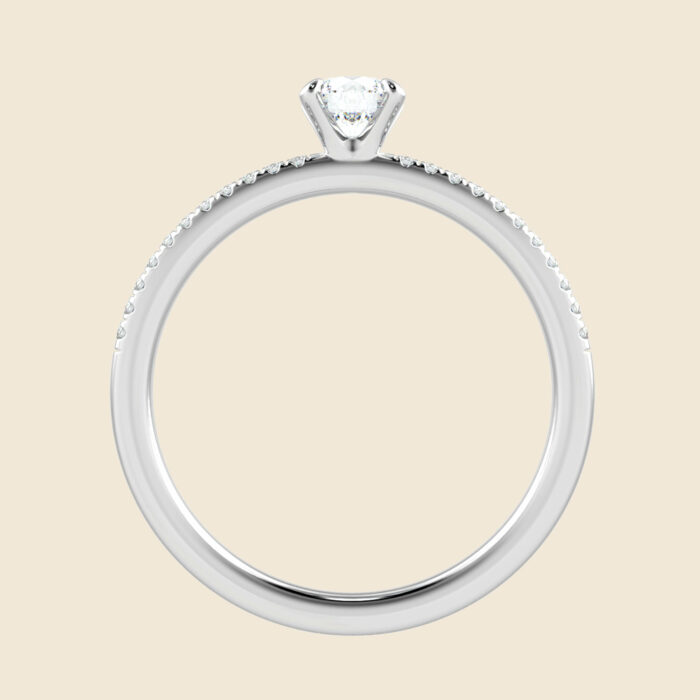 4 Prong Micro Set Lily Ring White