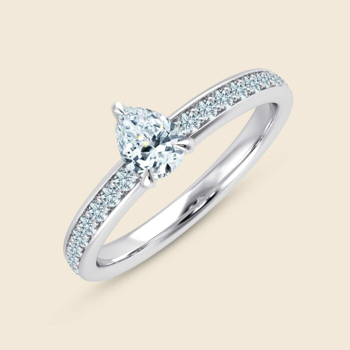 Pear Lily Micro Ring White
