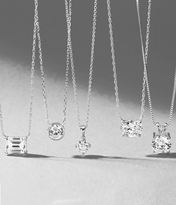 Lab grown Diamond Necklaces with different shapes