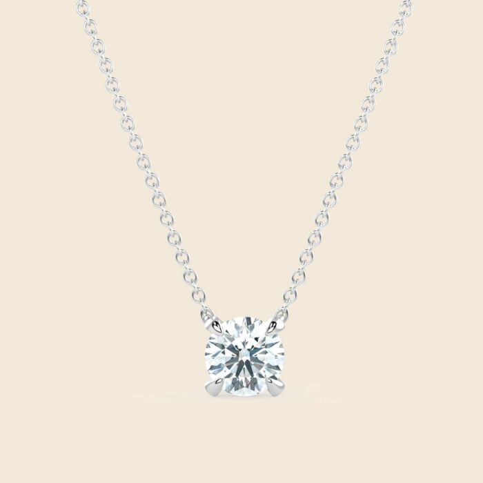 Round Lily Necklace White